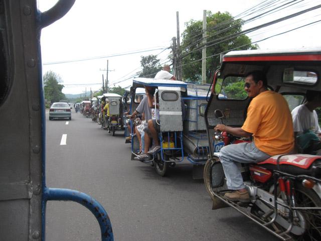 Train of Tricycles near Iriga City