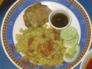Muslim yellow rice and chicken Kao Mok Gai