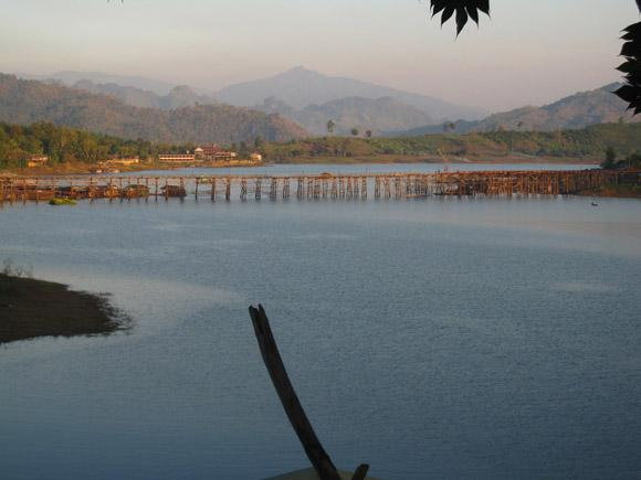 wooden mon bridge sangkhlaburi thailand