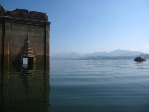 sunken wat mon temple sangklaburi thailand