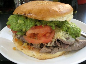 Chilean churrasco beef sandwich