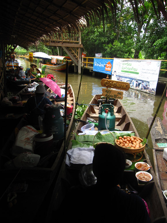 lat mayom floating market in thailand