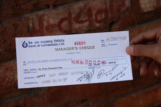 Manager's check for Thai visa in Kathmandu