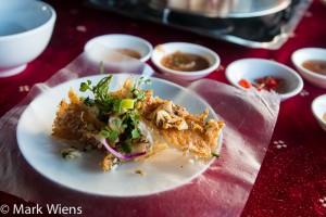 Cá tai tượng chiên xù - giant gourami deep fried and served with rice paper