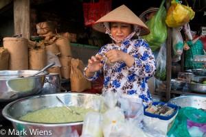 Vietnamese dessert seller outside Binh Tay Market