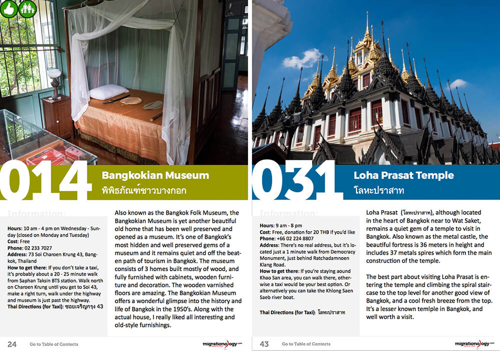 Example pages: Things to do in Bangkok