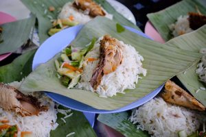 Nasi Dagang is a food thats made with glutinous rice, coconut milk, shredded coconut, and fish
