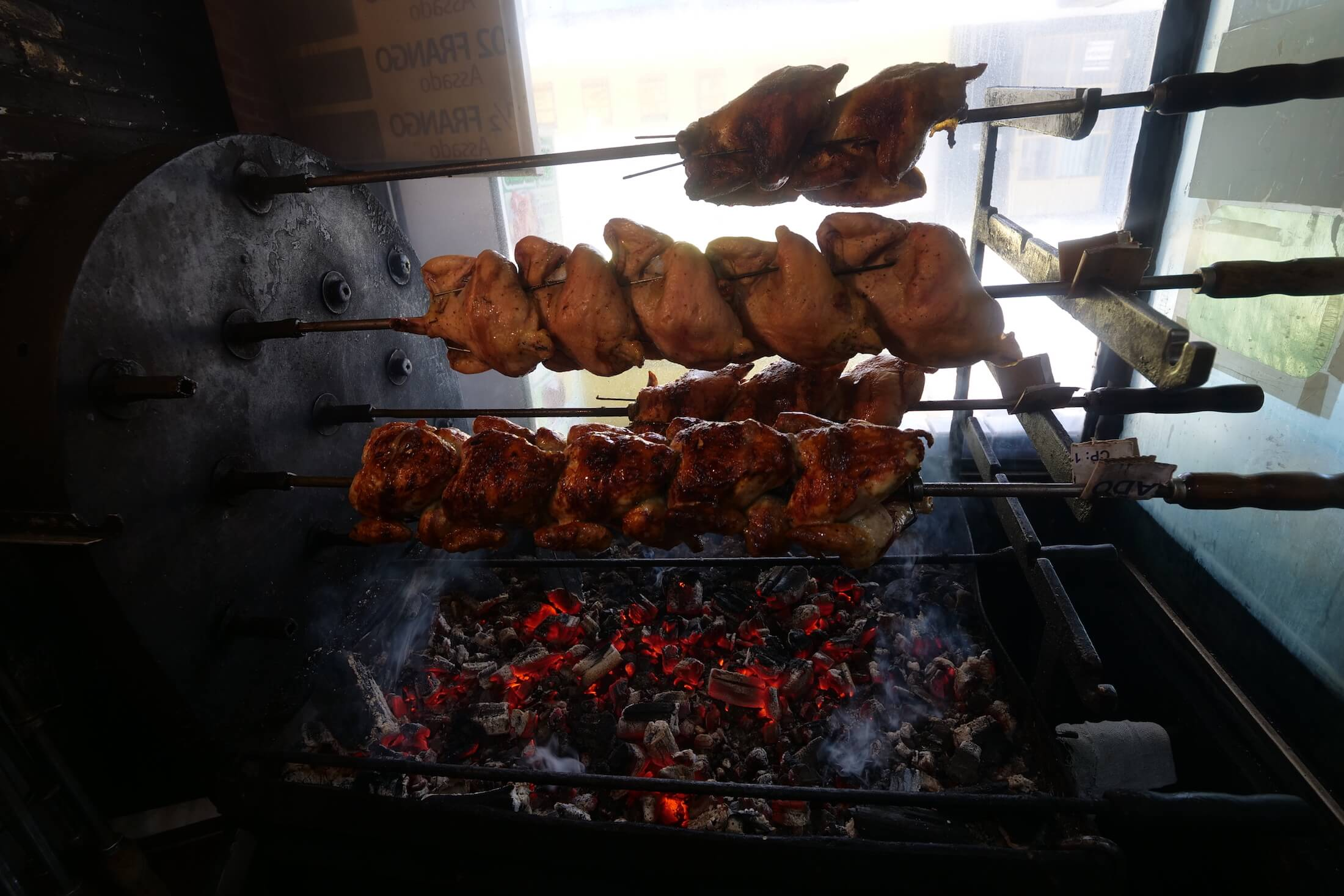 Amazing and beautiful style of rotating chickens over hot coals - it couldn't be more pretty