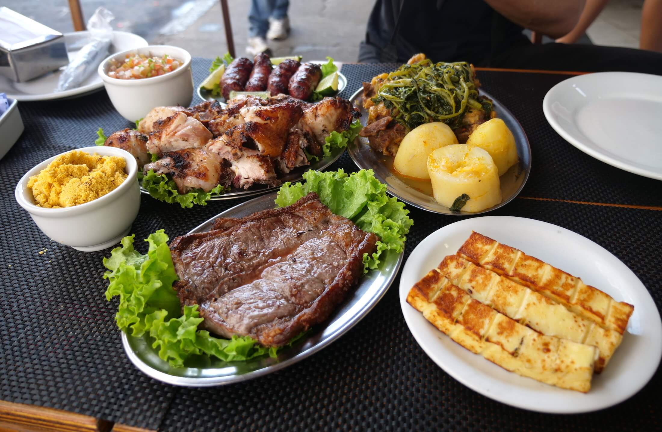 Wonderfully large serving plates at Bar Cafe Rex, this is a great place to go to share some plates of Brazilian meat with all your lunchtime friends