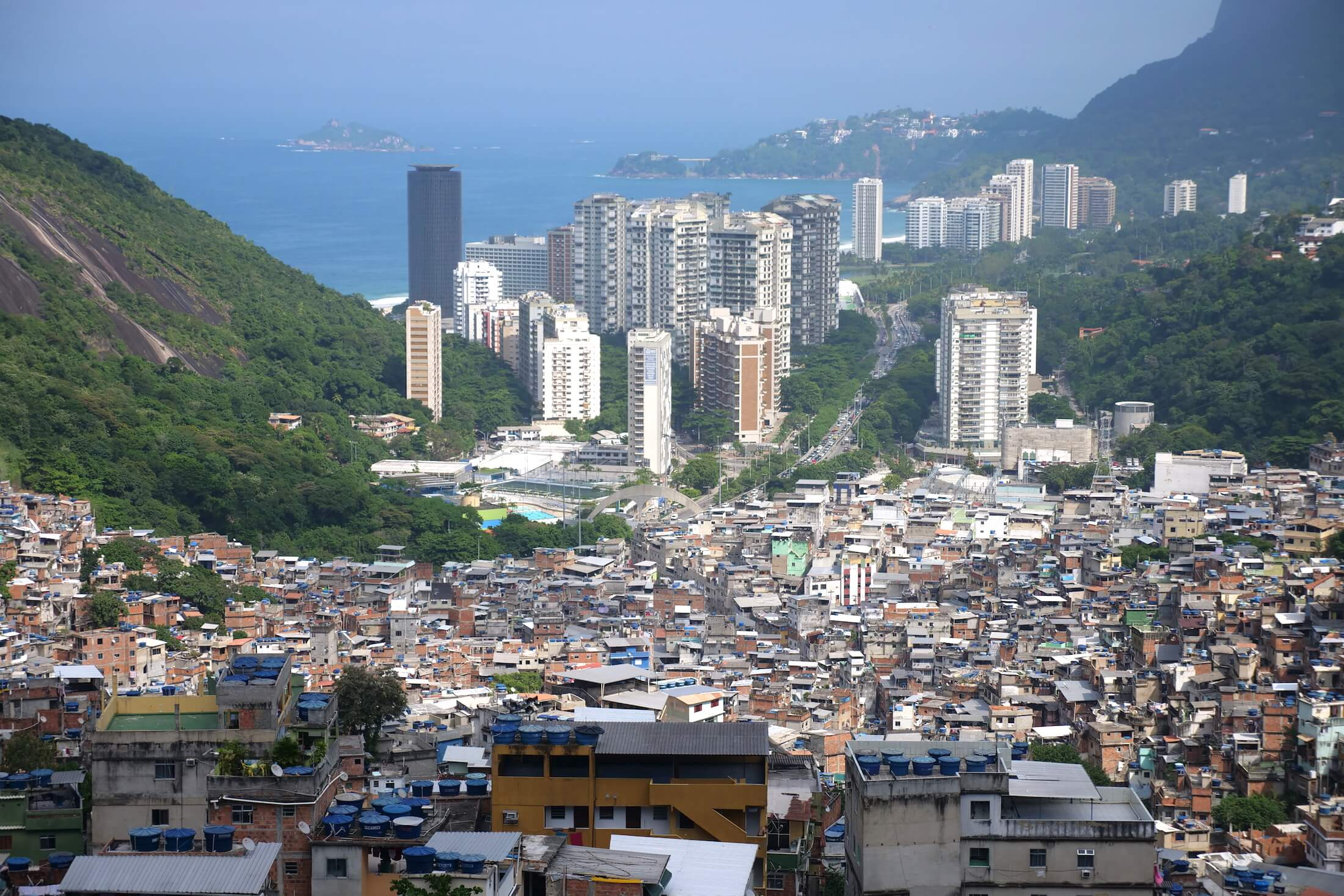 Amazing view from the Gate of Heaven in Rocinha Favela in Rio