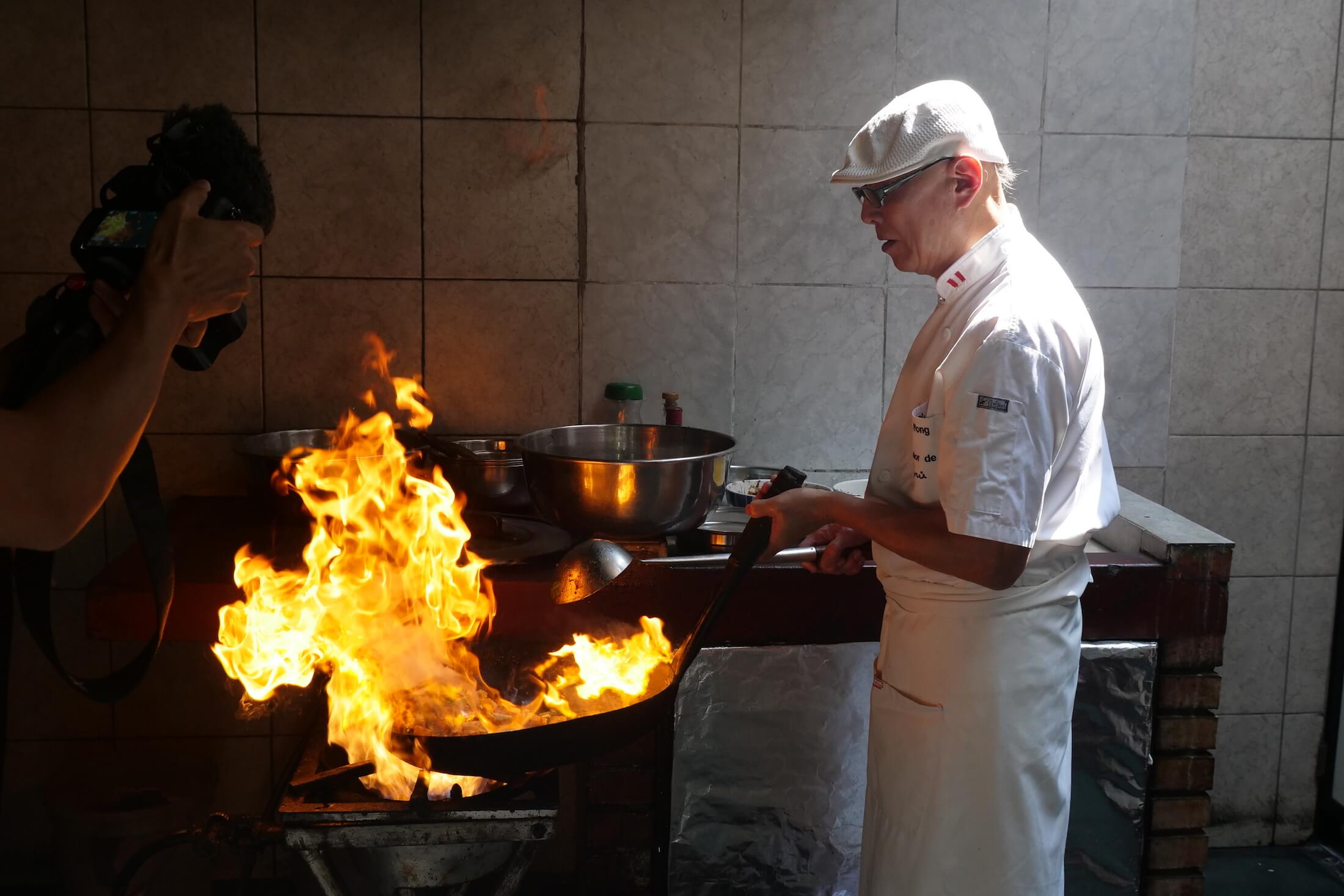 I wish I could play with fire during my own dinners the way that Chef Wong does with his