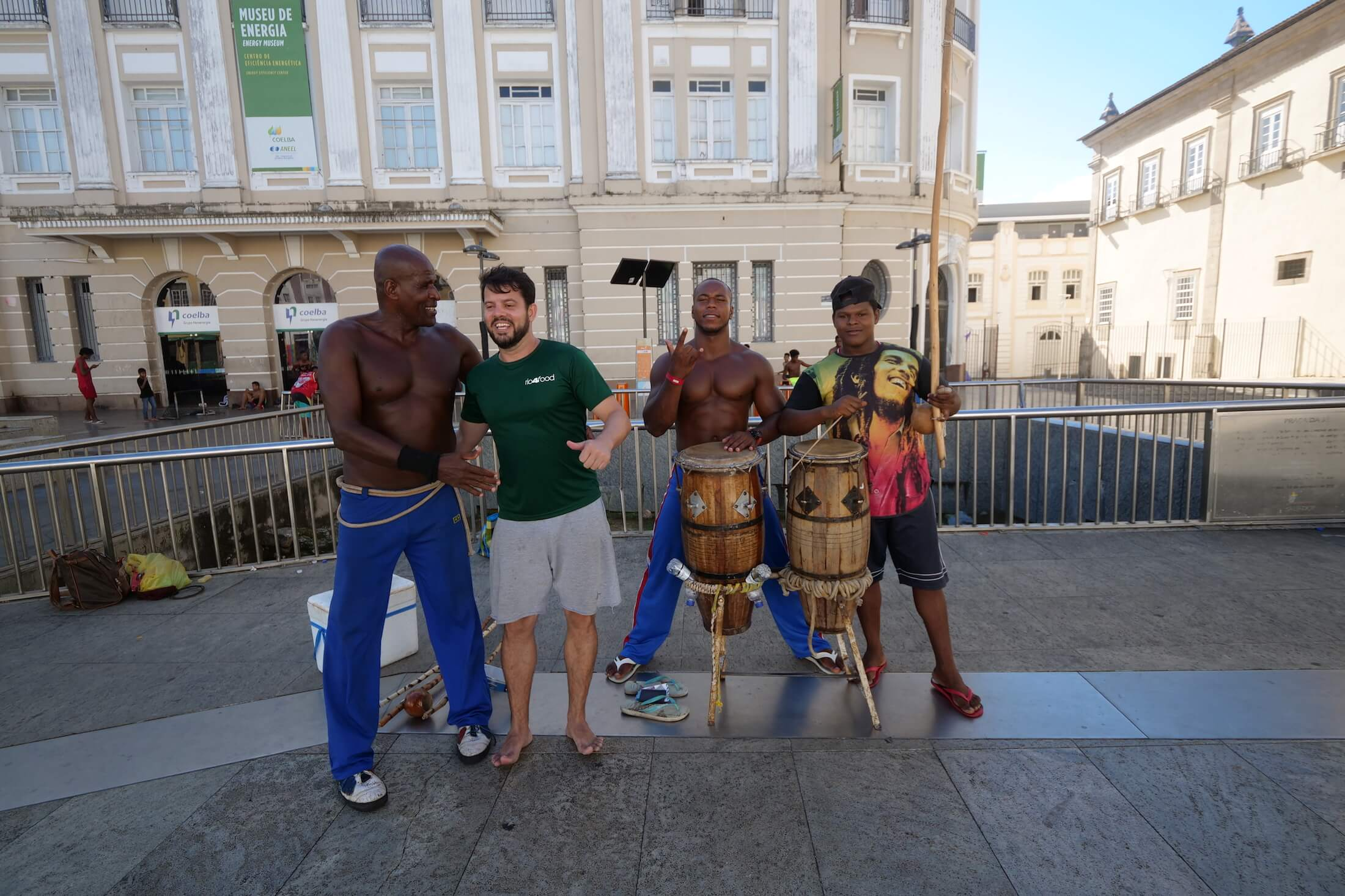 This friendly (and amazingly fit) group of guys keeping up their Capoeira skills