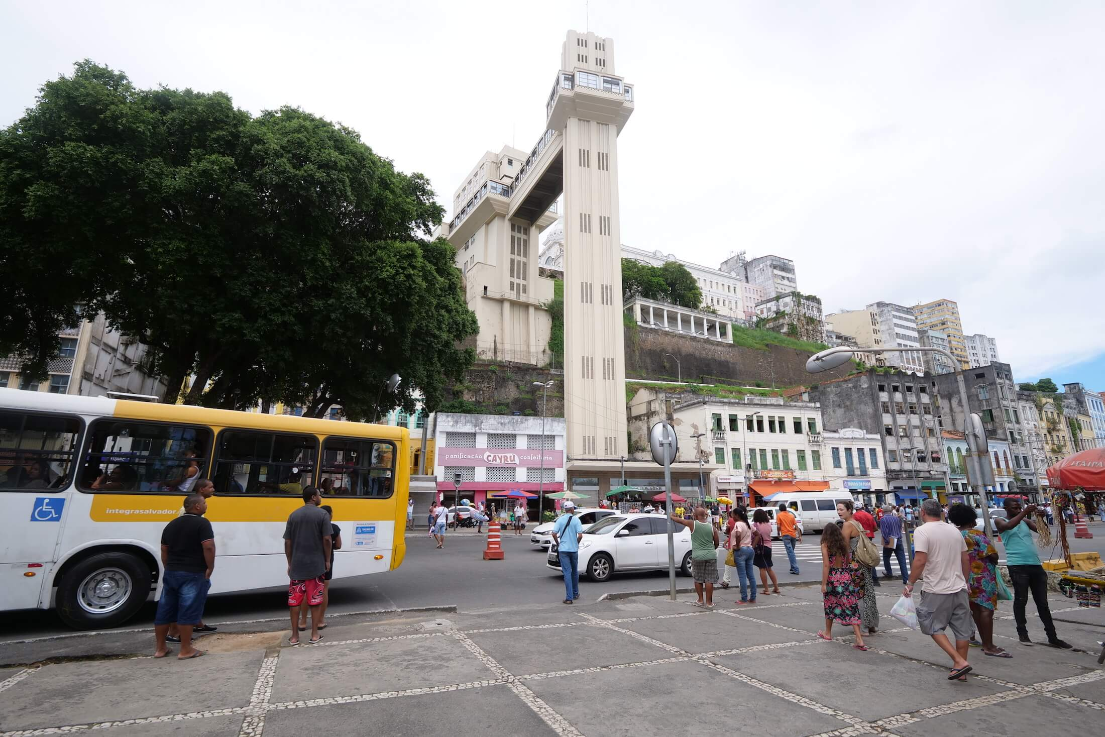 Take the elevator to reach the upper city section of Salvador