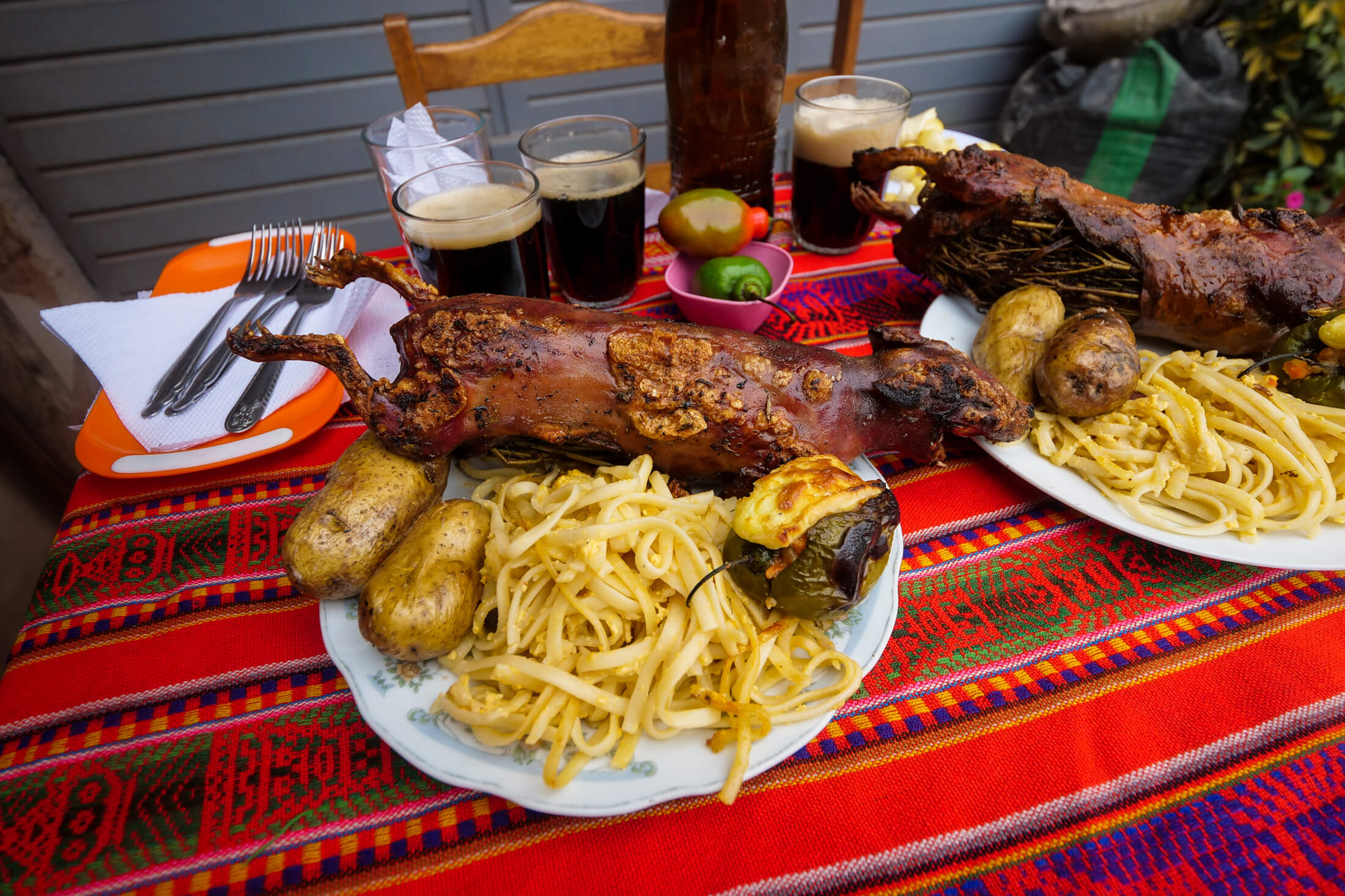 Huge plates of cuy served traditional style at Cuyeria Mónica