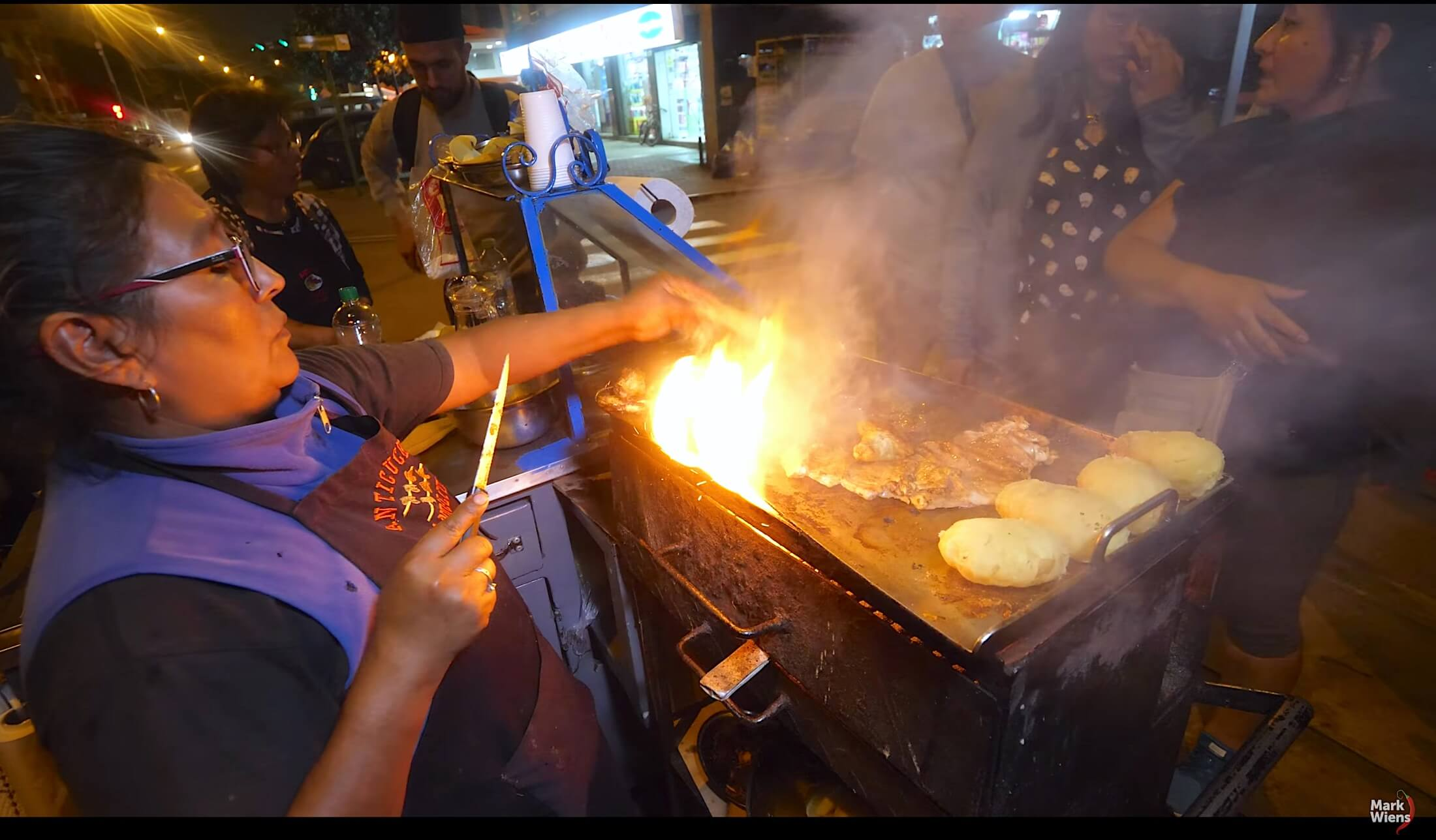 For beautiful displays of late night street food grilling, you need to visit Miraflores Anticuchos de Manuela