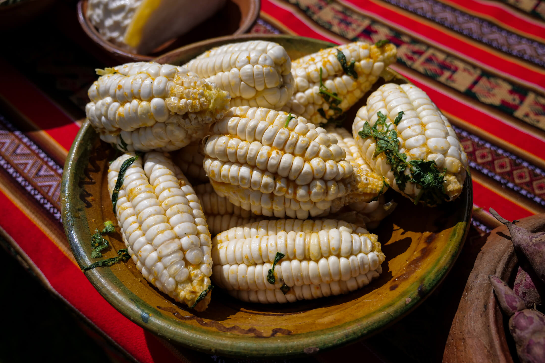these massive-kernel ears of corn (choclo) Are also key ingredients to the Pachamanca