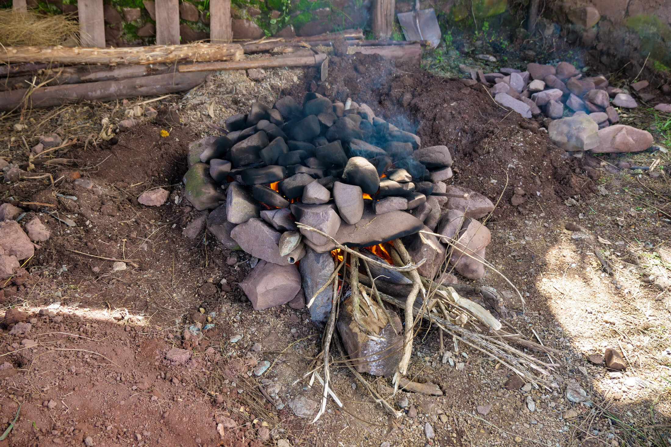 The first fire of Pachamanca is for heating the cooking stones