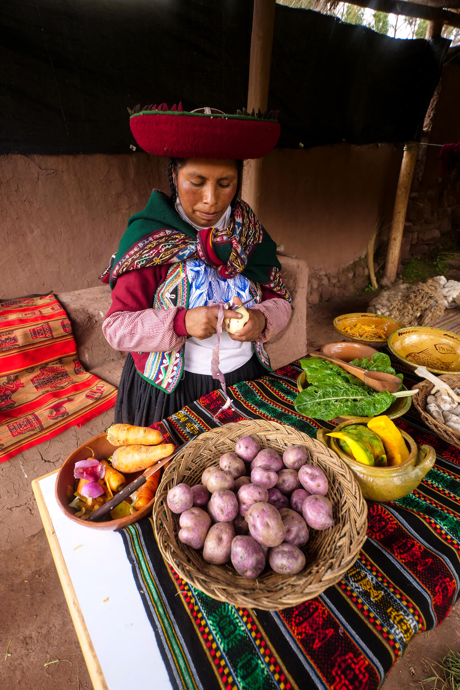 Ingredients to Moraya, a high-altitude staple food of Peru, include pumpkin, potato, carrot, and kale