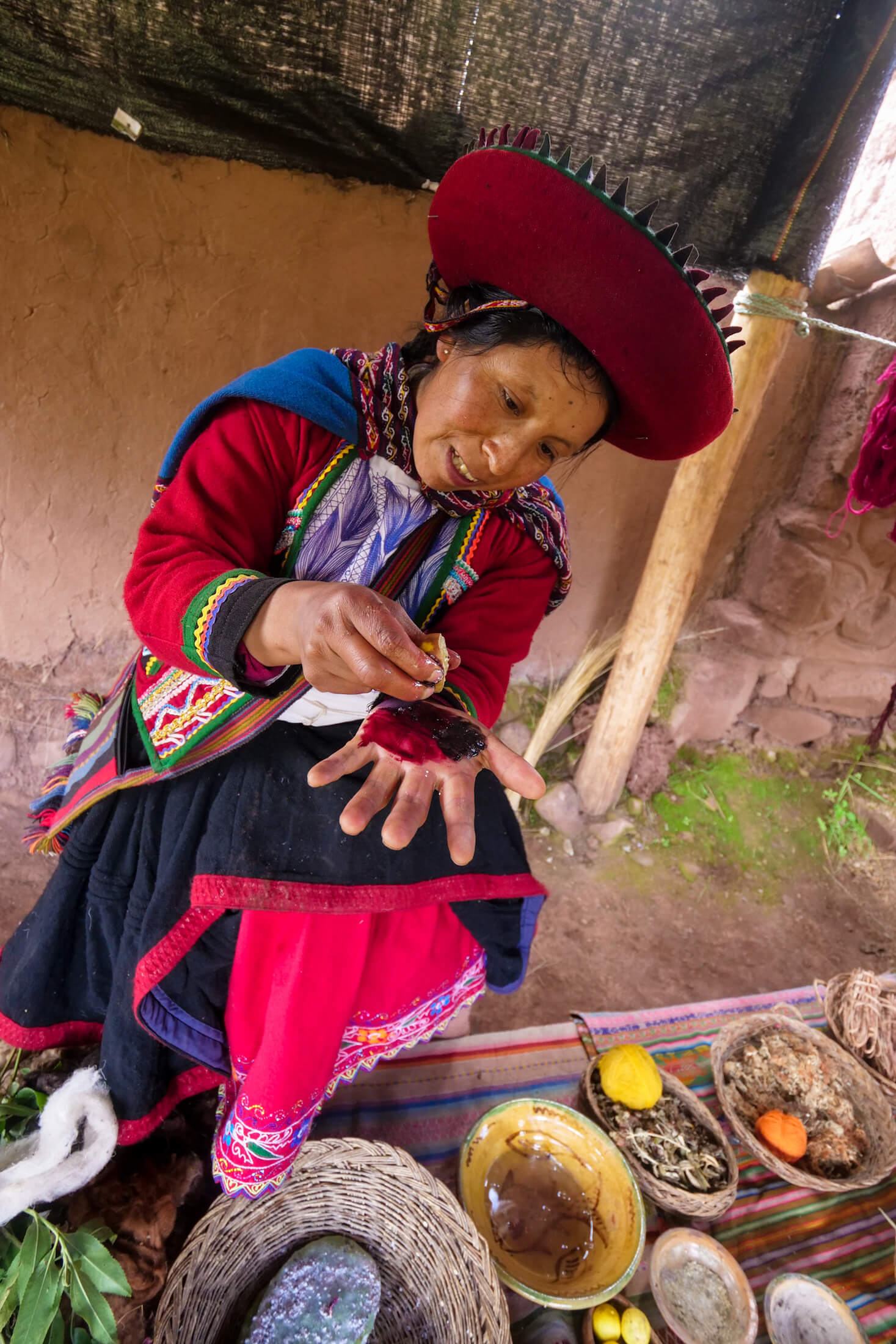 colorful dyes from nature are a key part in the Quechua heritage as they allow the clothes to tell stories