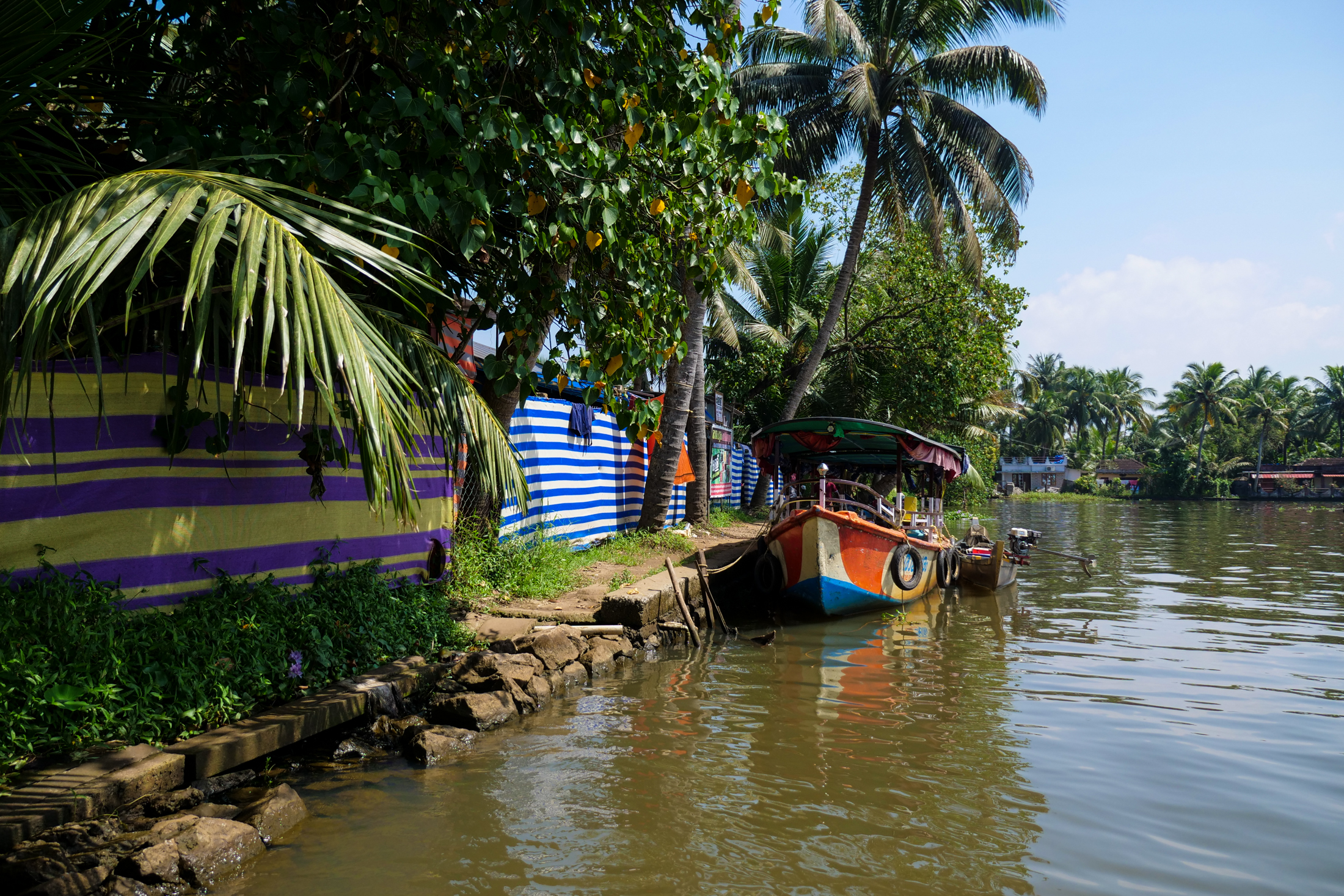 Kerala backwaters and the town of Alaphuzza are home to Kerala's Toddy Shop cuisine.